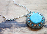 Circa 1940 Turkish Vintage Medallion, with Turquoise Center, Coral, and Turquoise Surrounding on Mandala Chain with Arizona Turquoise Drops. One of a Kind Necklace by Sage. - The Sage Lifestyle