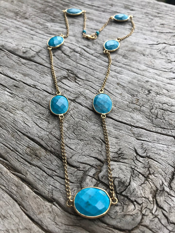 Arizona Turquoise Cabochon Bezel Layering Gold Necklace by Sage Machado