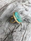 One of a Kind Gold Arizona Turquoise Ring by Sage Machado