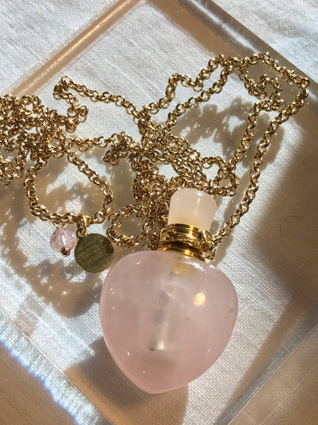 Amethyst Angelina Gemstone Perfume Bottle Gold Necklace by Sage Machado - The Sage Lifestyle