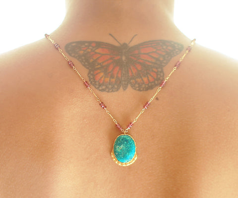 Turquoise Lotus Gold One of a kind necklace Arizona Turquoise pendant on Pink Garnets - The Sage Lifestyle