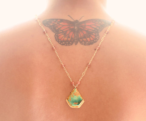 Turquoise Lotus Gold One of a kind necklace, Arizona Turquoise pendant on malachite