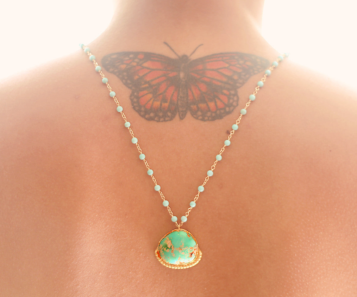 Turquoise Lotus Gold One of a kind necklace, Arizona Turquoise pendant on arizona turquoise - The Sage Lifestyle