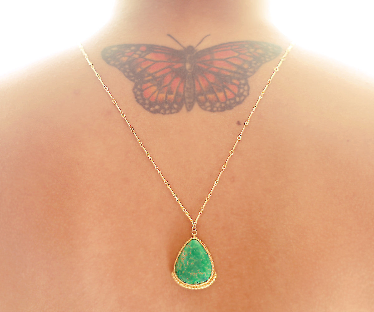 Turquoise Lotus Gold One of a kind necklace Arizona Turquoise pendant on gold chain - The Sage Lifestyle