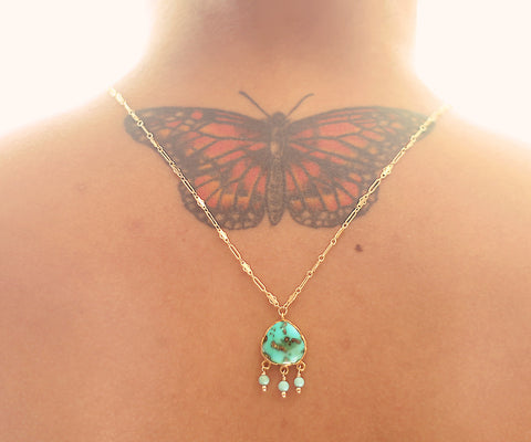 Turquoise Lotus Gold One of a kind necklace, Arizona Turquoise pendant on gold chain - The Sage Lifestyle