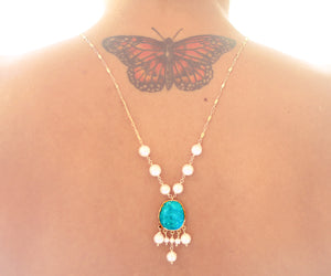 Turquoise Lotus Gold One of a kind necklace Arizona Turquoise pendant on cultured white pearls - The Sage Lifestyle