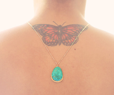 Turquoise Lotus Gold One of a kind necklace, Arizona Turquoise pendant on gold chain