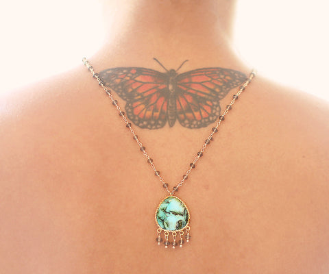 Turquoise Lotus Gold One of a kind necklace, Arizona Turquoise pendant on smokey topaz - The Sage Lifestyle