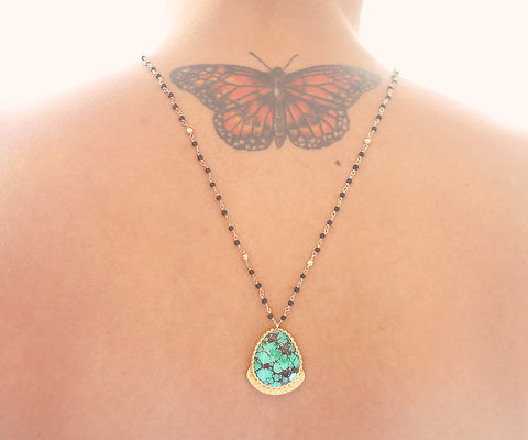 Turquoise Lotus Gold One of a kind necklace, Arizona Turquoise pendant on black onyx - The Sage Lifestyle