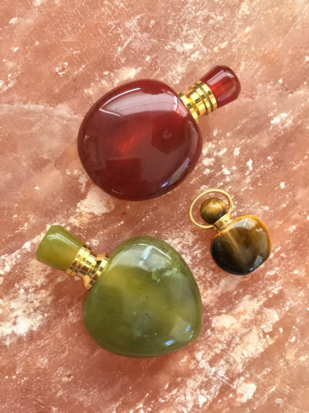Green Flourite Mini Angelina Gemstone Perfume Bottle Gold Necklace by Sage Machado - The Sage Lifestyle