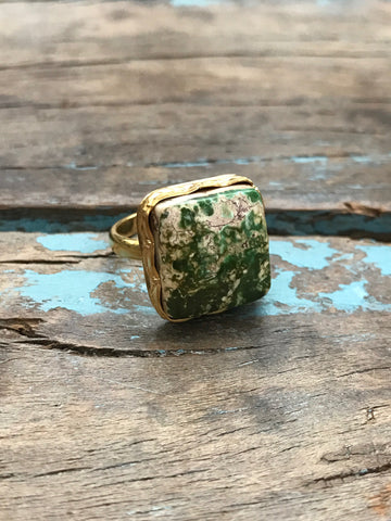 Arizona Turquoise Gold Ring by Sage Machado, Green Turquoise One of a Kind Ring
