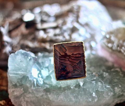 Picture Jasper square one of a kind gold ring - Metis by Sage
