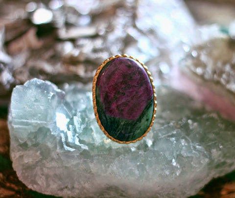 Anyolite with Ruby large oval one of a kind gold ring - Dione by Sage - The Sage Lifestyle