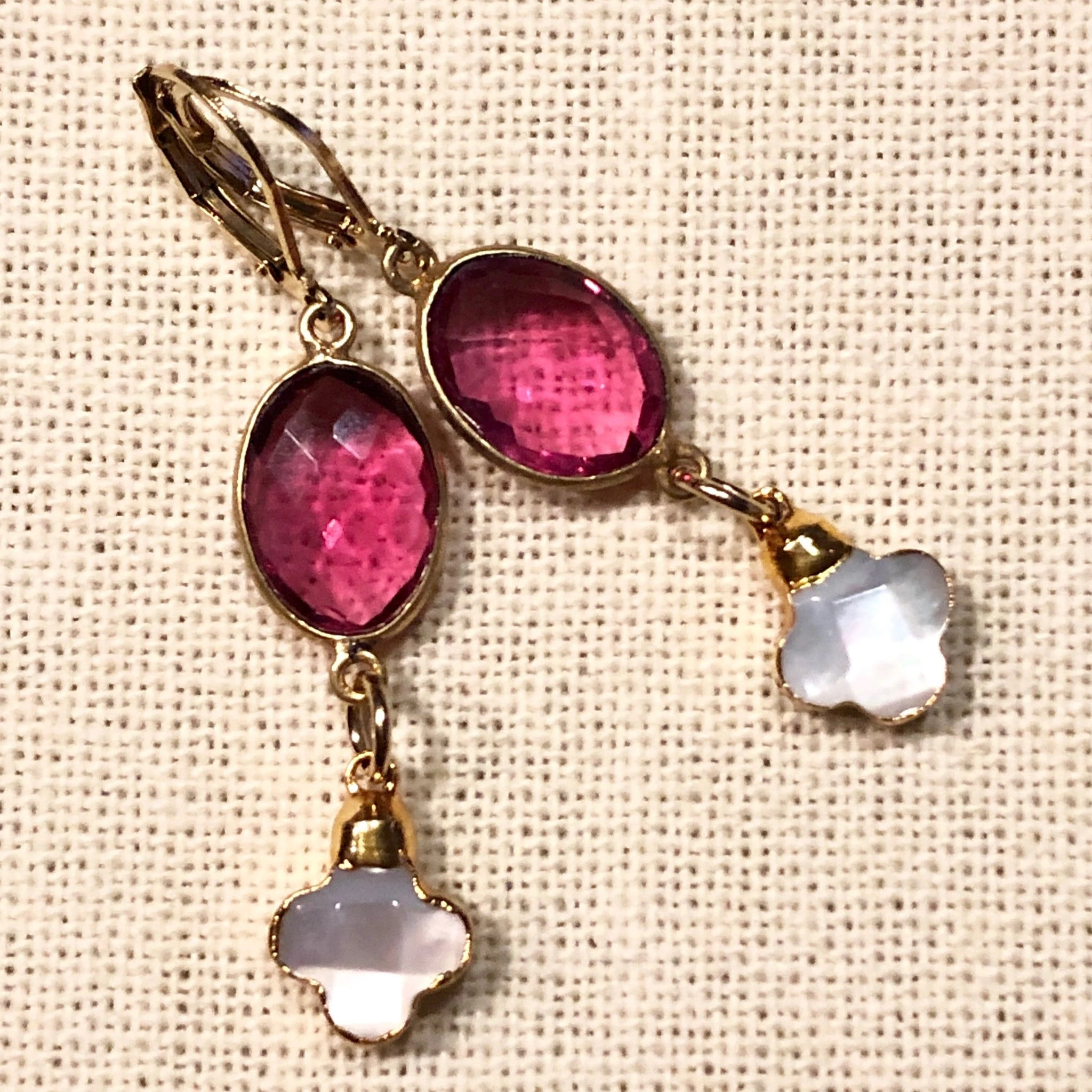 Fuchsia Hydro Quartz and Mother of Pearl Clover Gold Earrings by Sage Machado