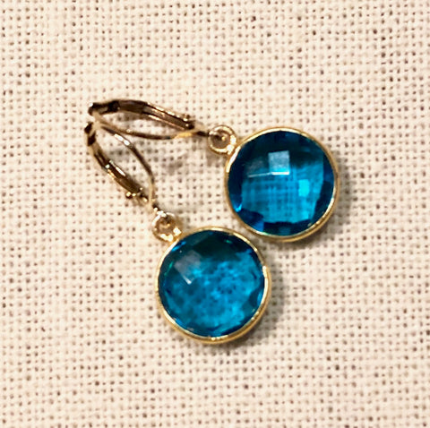 Peacock Blue Hydro Quartz Large Rain Drop Gold Earrings by Sage Machado
