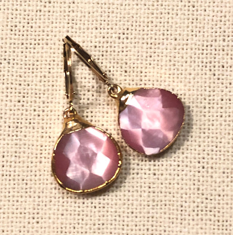 Pink Mother of Pearl Tier Drop Gold Earrings by Sage Machado