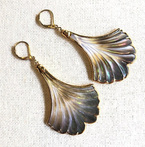 Mother of Pearl Gold Fan Earrings by Sage Machado - The Sage Lifestyle