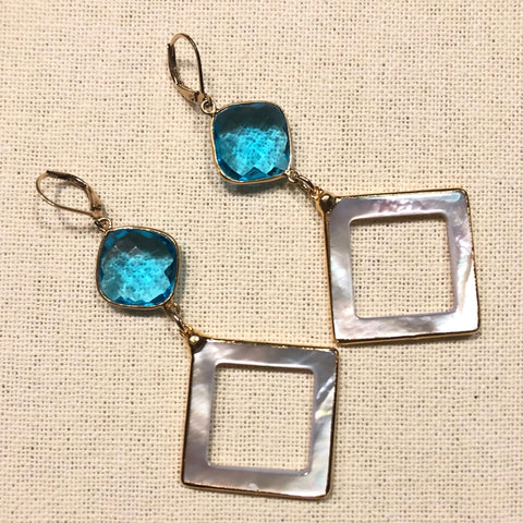 Peacock Blue Hydro Quartz with Mother of Pearl Diamond Drops, Gold Earrings by Sage Machado - The Sage Lifestyle