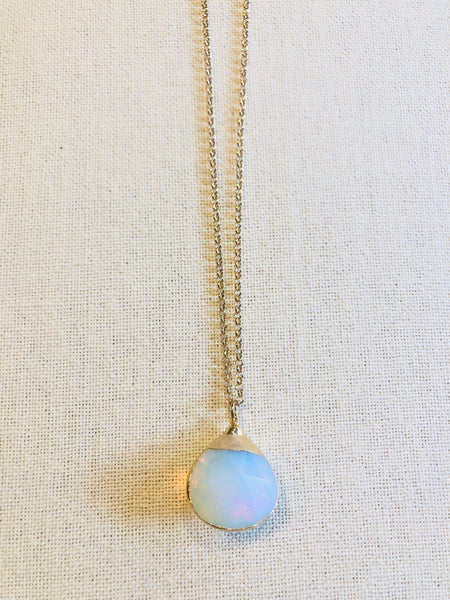 Faceted Opalite Tear Drop on Gold Chain by Sage Machado - The Sage Lifestyle