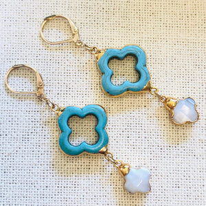 Arizona Turquoise and Mother of Pearl Clover Gold Earrings by Sage Machado