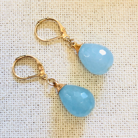 Aqua Marine Tier Drop Gold Earrings by Sage Machado