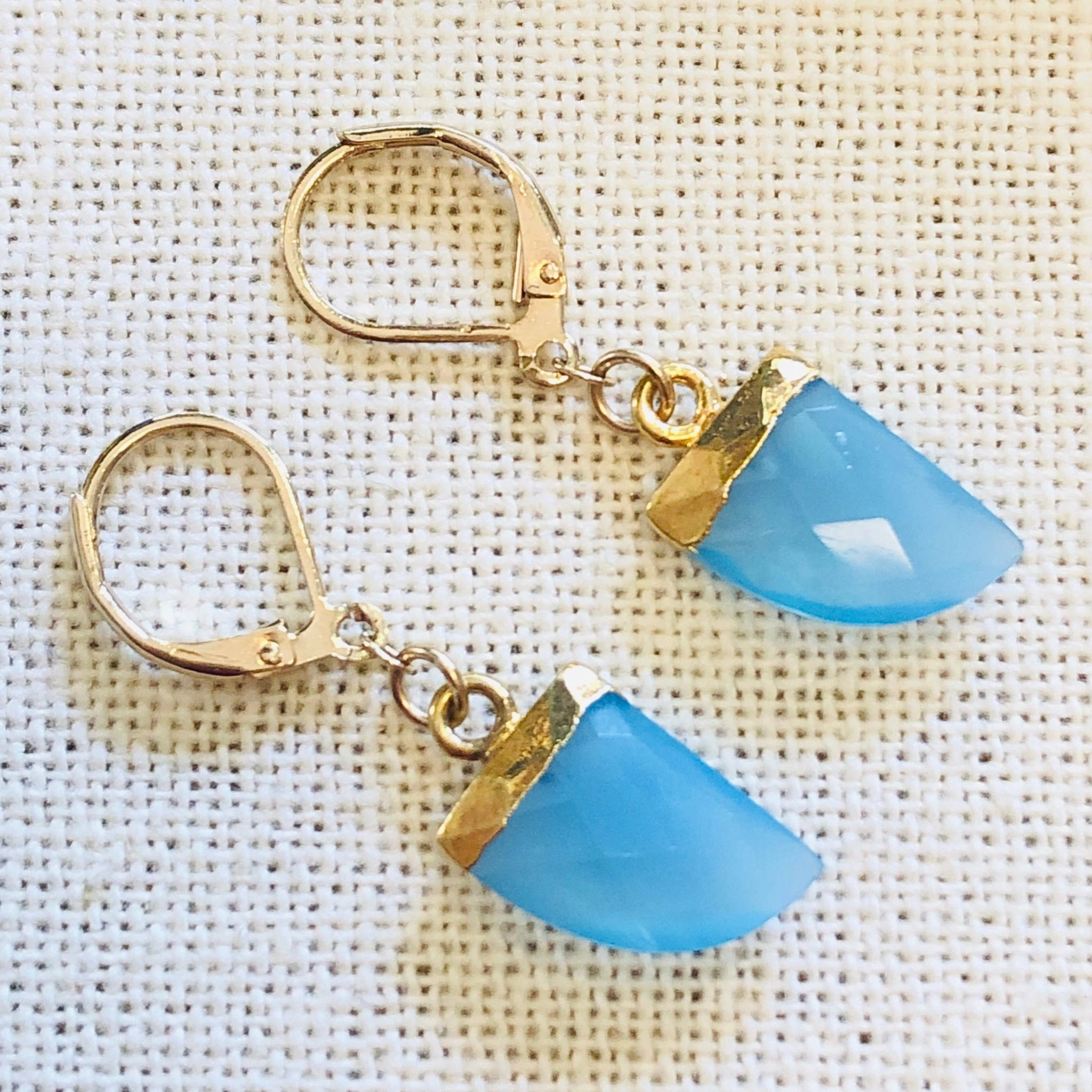 Blue Topaz Horn Charm Gold Earrings by Sage Machado