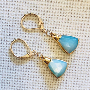 Aqua Silverstone Triangle Gold Drop Earrings by Sage Machado