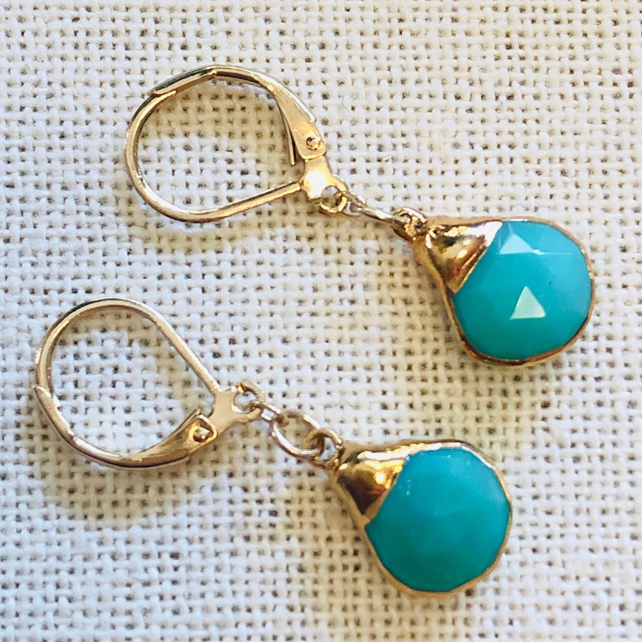 Chrysoprase Gold Charm Tier Drop Earrings by Sage Machado