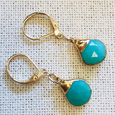 Chrysoprase Gold Charm Tier Drop Earrings by Sage Machado - The Sage Lifestyle