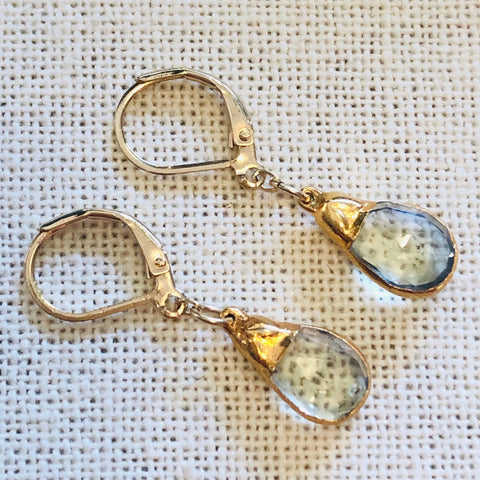 Lemon Topaz Gold Charm Earrings by Sage Machado - The Sage Lifestyle