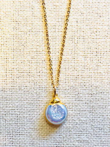 Mystic Druzy Quartz Charm Necklace on Gold Chain by Sage Machado