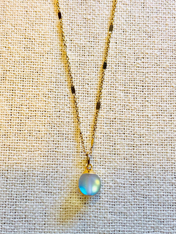 Opalite Sphere Charm Necklace on Gold Chain by Sage Machado - The Sage Lifestyle