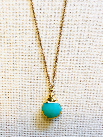 Chrysoprase Charm Necklace on Gold Chain by Sage Machado