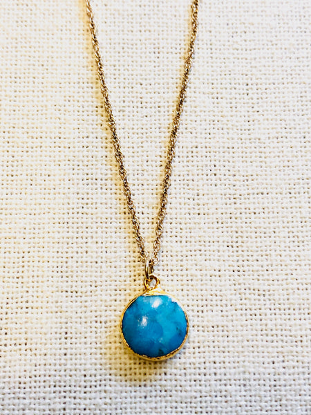 Arizona Turquoise Charm Necklace on Gold Chain by Sage Machado - The Sage Lifestyle