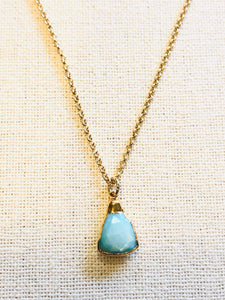 Aqua Silverstone Triangle Charm Necklace on Gold Chain by Sage Machado - The Sage Lifestyle