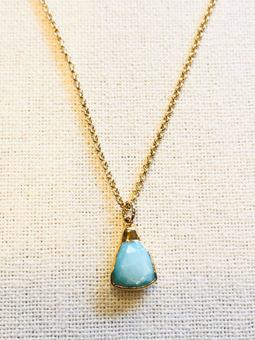 Aqua Silverstone Triangle Charm Necklace on Gold Chain by Sage Machado