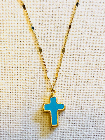Arizona Turquoise Tiny Cross Necklace on Gold Chain by Sage Machado - The Sage Lifestyle