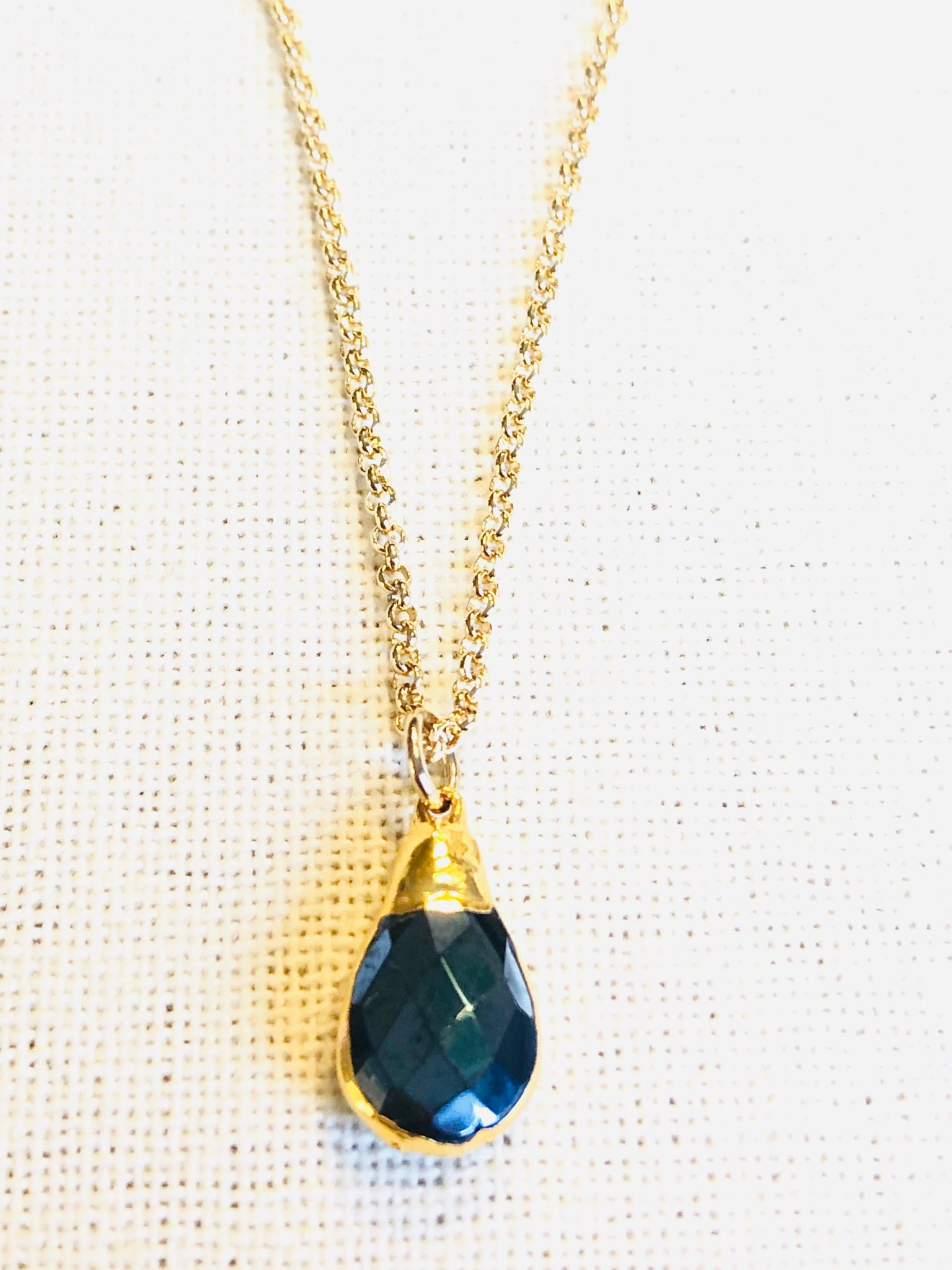 Black Obsidian Charm Necklace on Gold Chain by Sage Machado - The Sage Lifestyle