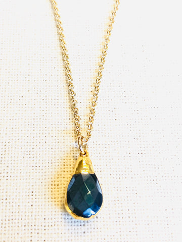 Black Obsidian Charm Necklace on Gold Chain by Sage Machado