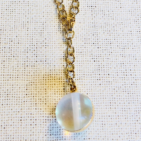 Opalite Sphere Y Drop Necklace on Gold Chain by Sage Machado - The Sage Lifestyle