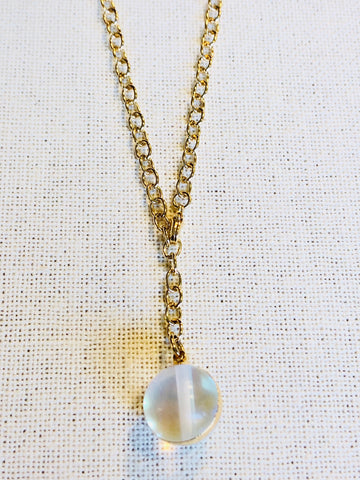 Opalite Sphere Y Drop Necklace on Gold Chain by Sage Machado