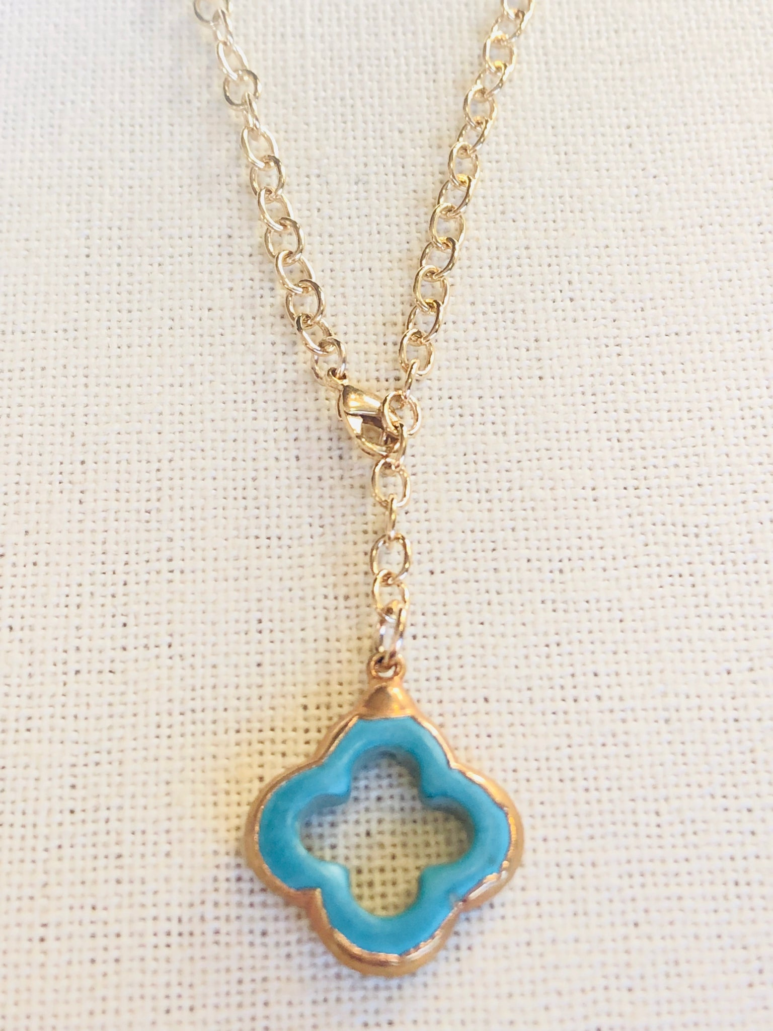 Arizona Turquoise Clover Y Drop Necklace on Gold Chain by Sage Machado - The Sage Lifestyle