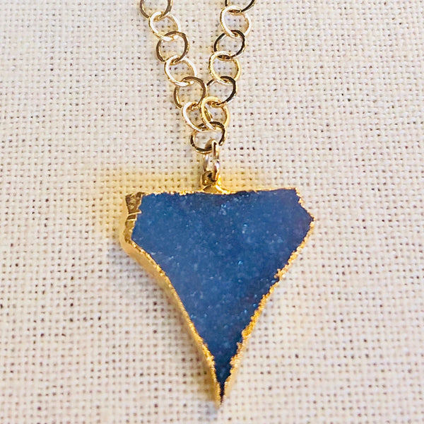 Galaxy Druzy Quartz Arrow Necklace on Gold Chain by Sage Machado - The Sage Lifestyle