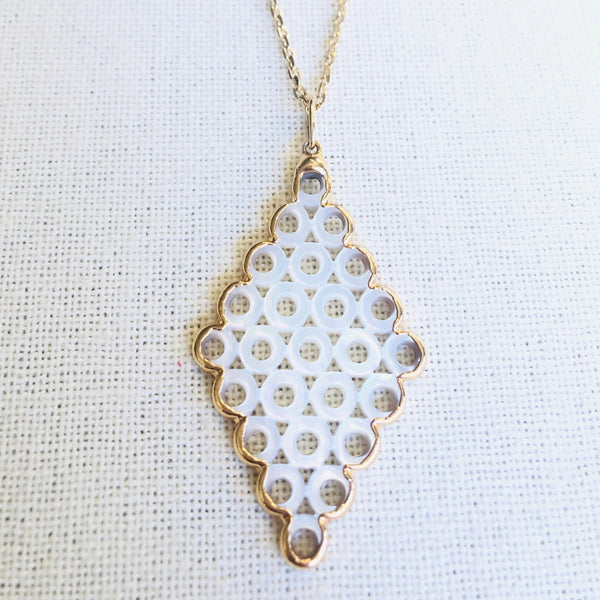 Mother Of Pearl Circles Pendant Necklace on Gold Chain by Sage Machado - The Sage Lifestyle