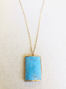 Arizona Turquoise Rectangle Pendant Necklace on Gold Chain by Sage Machado - The Sage Lifestyle