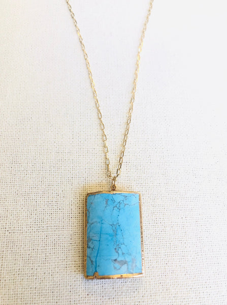 Arizona Turquoise Rectangle Pendant Necklace on Gold Chain by Sage Machado