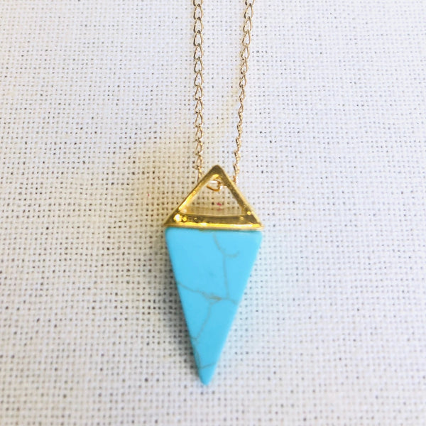 Turquoise Howlite Pyramind Drop Necklace by Sage Machado, Turquoise Howlite Pyramind Drop Gold Necklace - The Sage Lifestyle