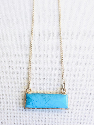 Arizona Turquoise Pendant Necklace by Sage Machado, Arizona Turquoise Pendant Gold Necklace