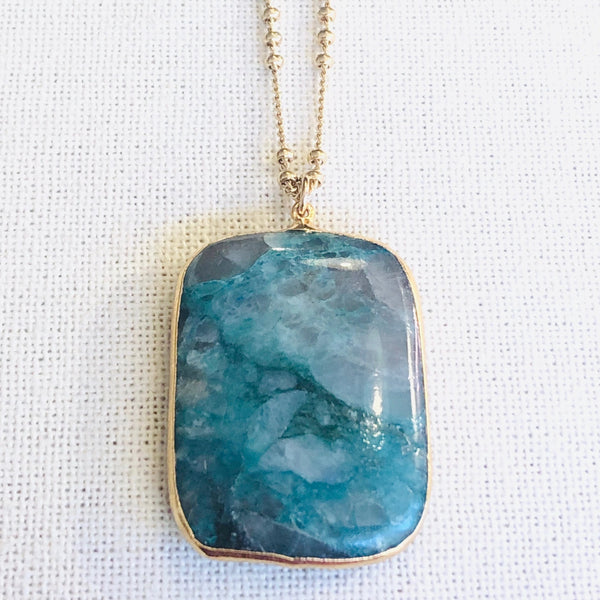 Amazonite Rectangle Pendant Necklace on Gold Chain by Sage Machado - The Sage Lifestyle