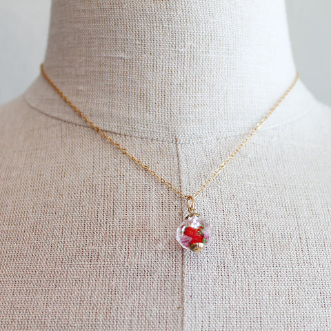 Red flower Czech Glass Kids Keepsake Necklace by Sage